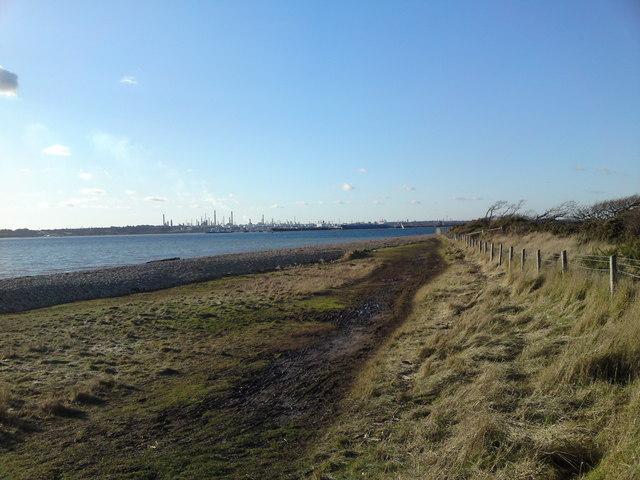 Solent Way Footpath looking west towards Fawley