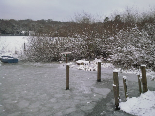 Ice-covered pond at Woodlands Farm