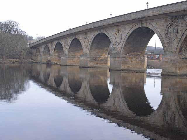 Hexham bridge, reflected