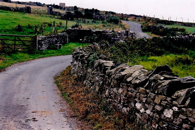Cregneash Village - Ruins along left side of lane