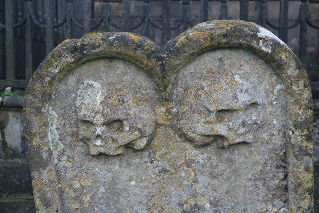 Skulls on the headstone