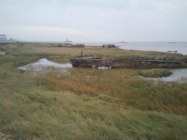 Old boats near the Saxon Shore Way