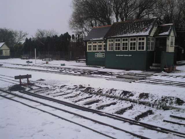 The signal box at New Romney in winter