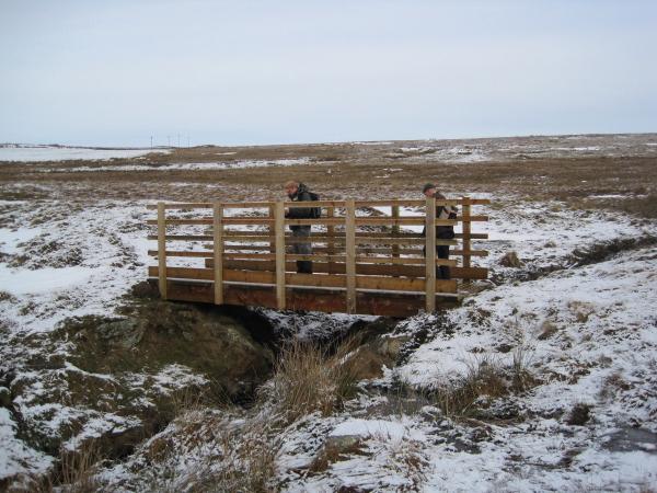 Footbridge across the Hazel Burn