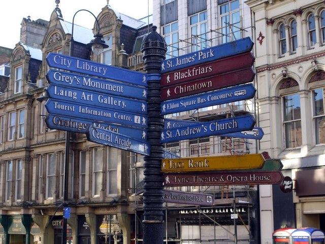 Signpost on Bigg Market / Grainger Street corner