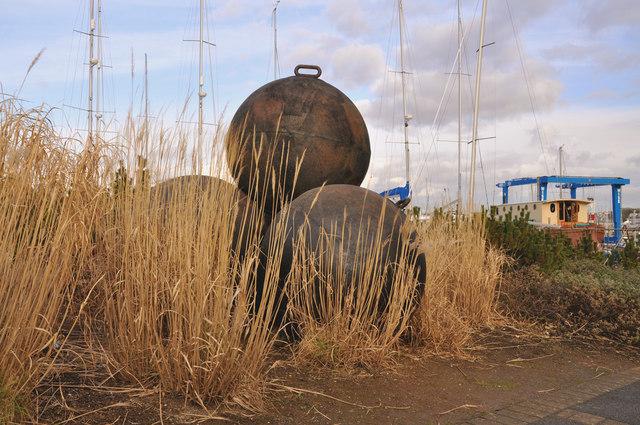 Mooring buoy scrap art, Mount Batten - Plymouth