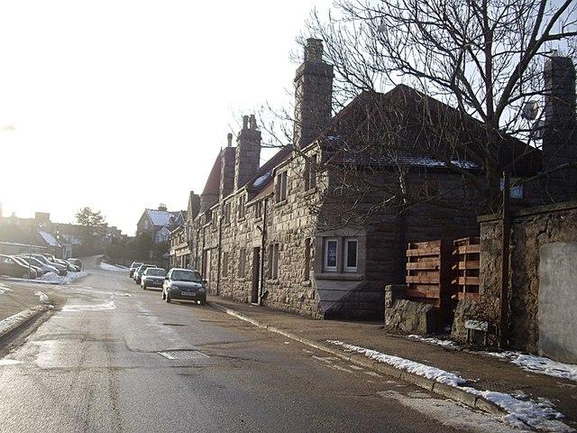 Red granite buildings on Low Road