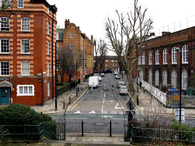 Bethnal Green:  Rochelle Street from Arnold Circus