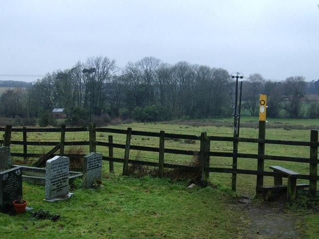 Footpath and stile, churchyard, Misterton