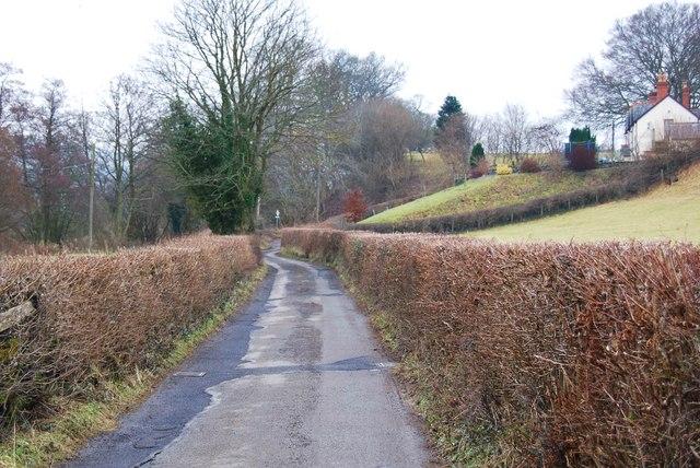 Lane from Pont Dyfrdwy towards Pen-y-bont