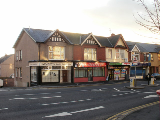 Chepstow Road shops near the corner of Rothesay Road, Newport