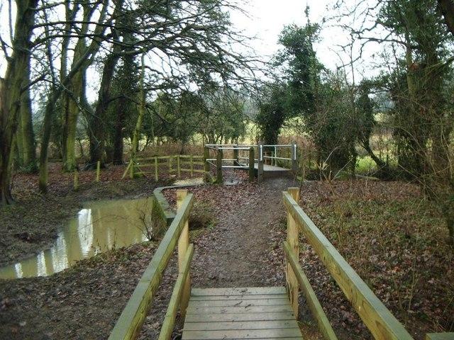 Swollen river and footbridges, River Swift