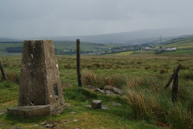 The trig point on Thieveley Pike