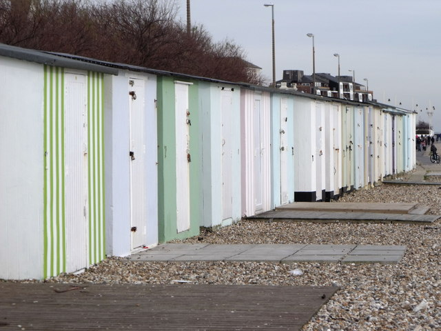 A row of well locked beach huts, Bognor Regis