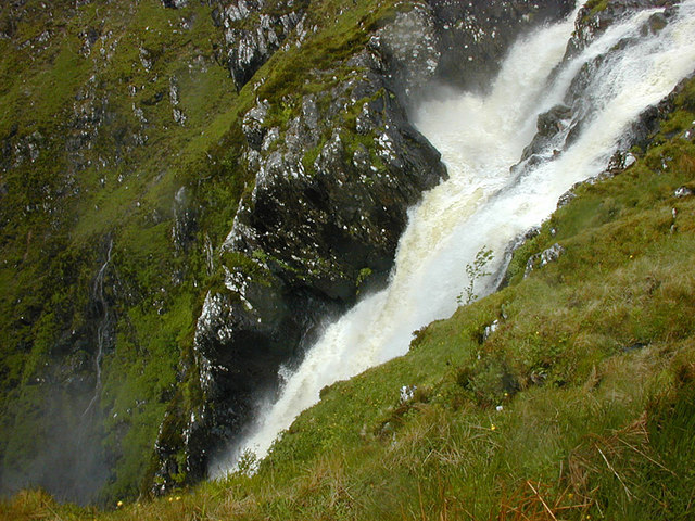 The top section of the Falls of Glomach
