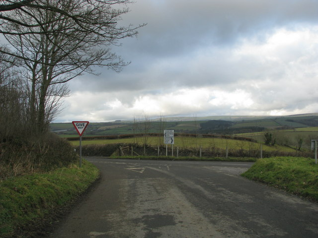 Road junction at Silcombe Cross