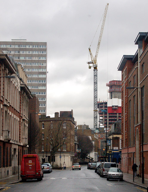 Looking east along Lever Street, London EC1