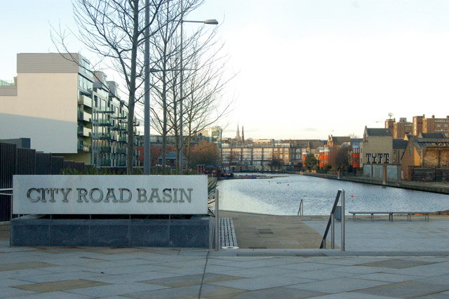 City Road Basin sign, Regents Canal, London EC1
