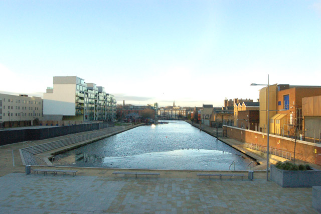 Looking north at City Road Basin, Regents Canal