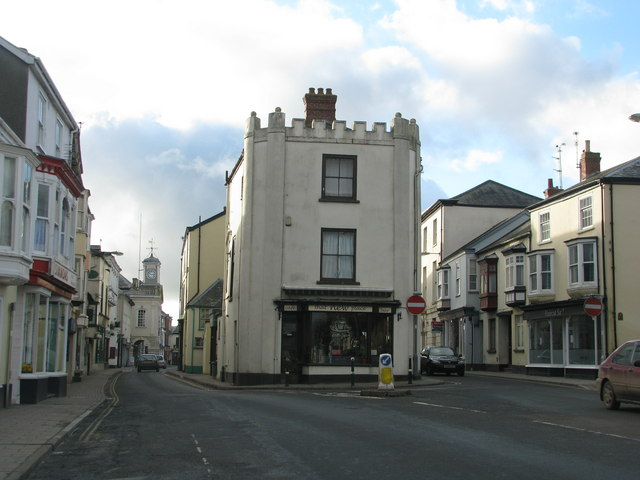 South Molton main street on a quiet winter Sunday afternoon