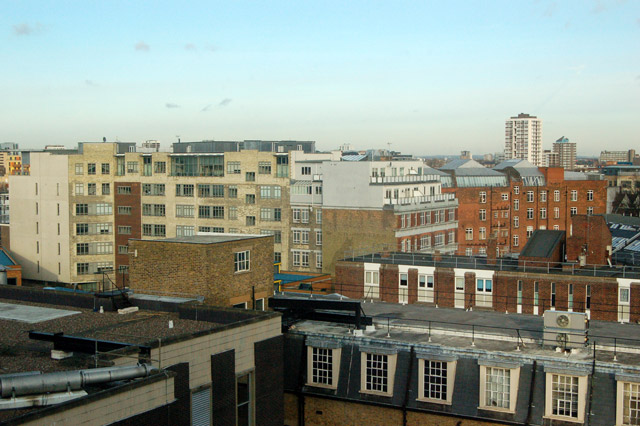 Roofscape east of Central Street, London EC1