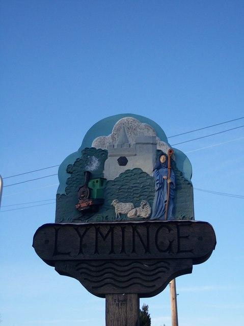 Close-up of Lyminge Village Sign