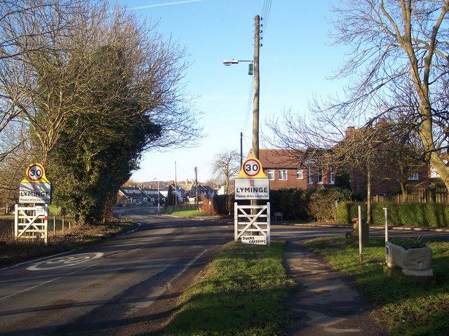 Station Road enters Lyminge
