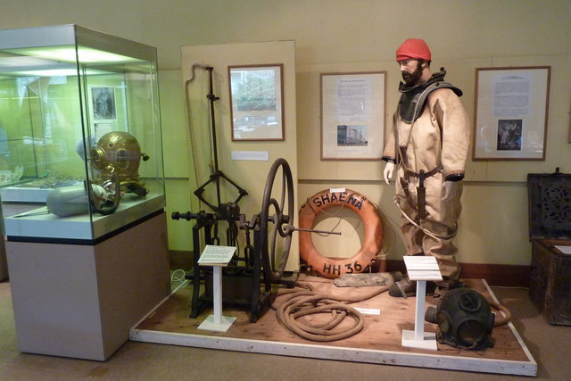 A display of diving equipment in Whitstable Museum