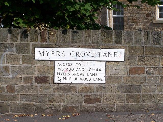 Street Sign, Myers Grove Lane, Malin Bridge, Sheffield