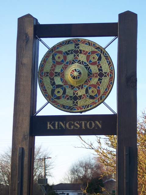 Close-up of Kingston Village Sign
