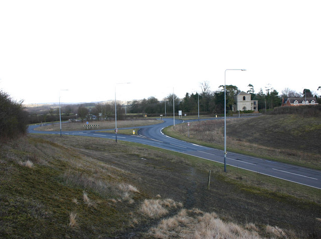 The roundabout at the junction of A422 and A429