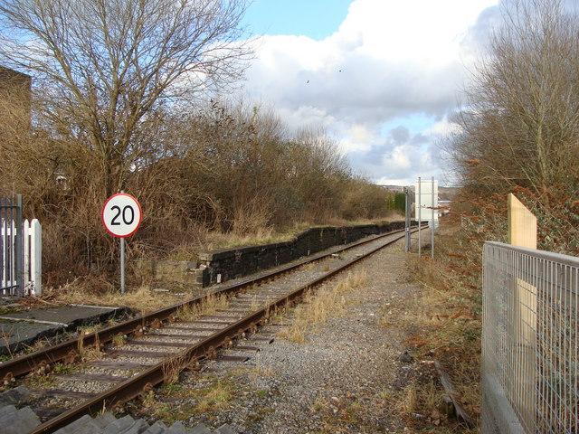 Derelict platform of the old GWR railway station, Ammanford