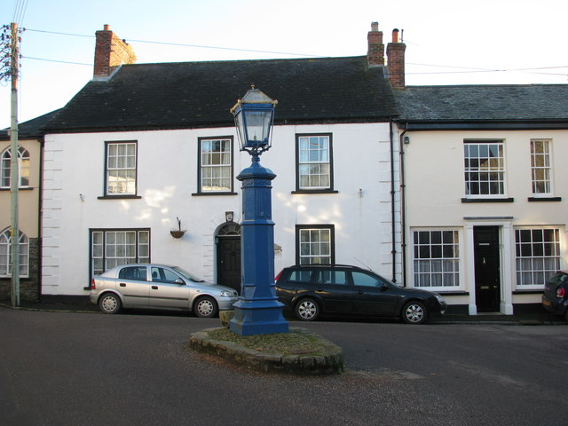Blue lamp standard in the middle of Chulmleigh