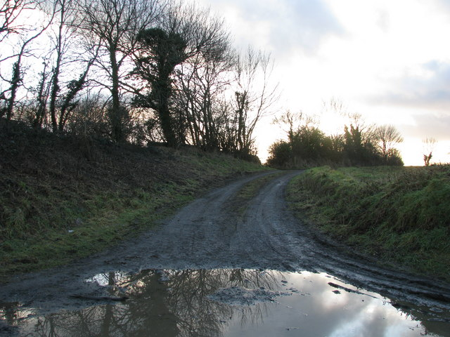 Muddy track north-east of Lapford