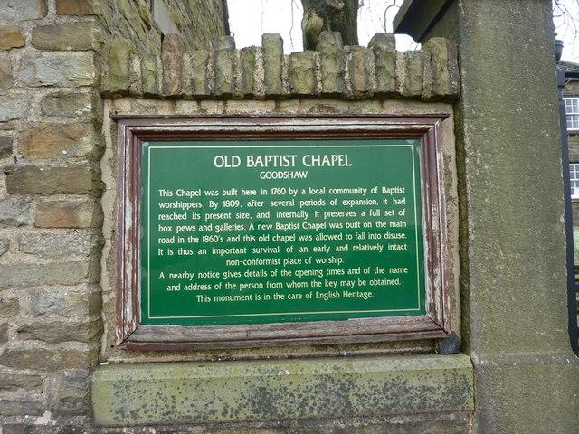 Old Baptist Chapel, Goodshaw, Sign