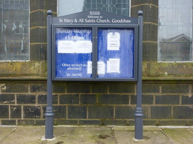 St Mary & All Saints Church, Goodshaw, Sign