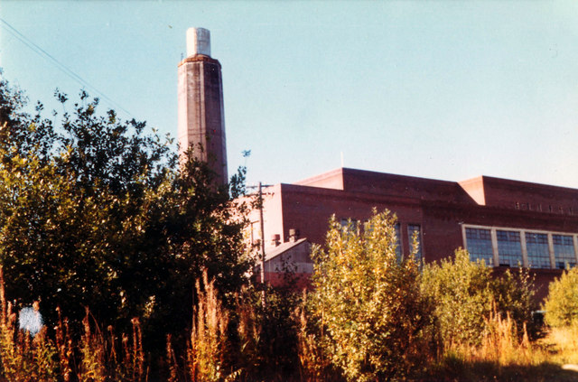 Braehead Power Station, from the banks of the Clyde, 1977