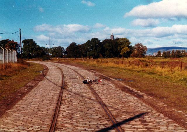 Tramlines, Old Govan Road, 1977