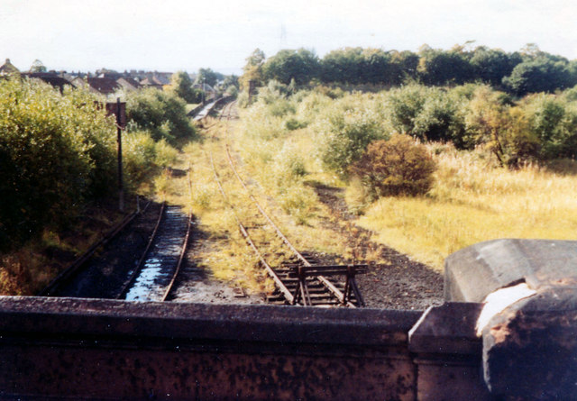 Overgrown rail tracks, Meadowside Street 1977