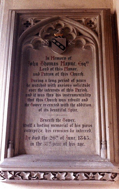 Memorial to John Thomas Mayne in Teffont Evias church