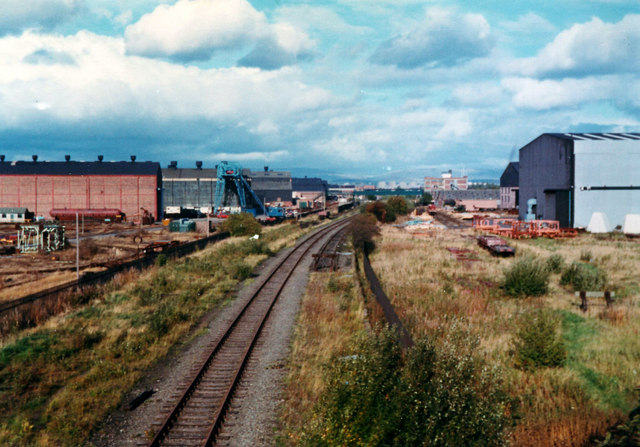 Railway line through Babcocks factory, from Wright Street bridge, 1977