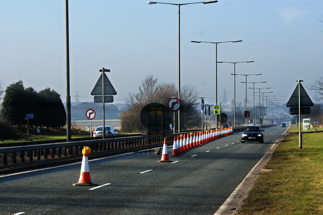 Cones on the East Lancs Road
