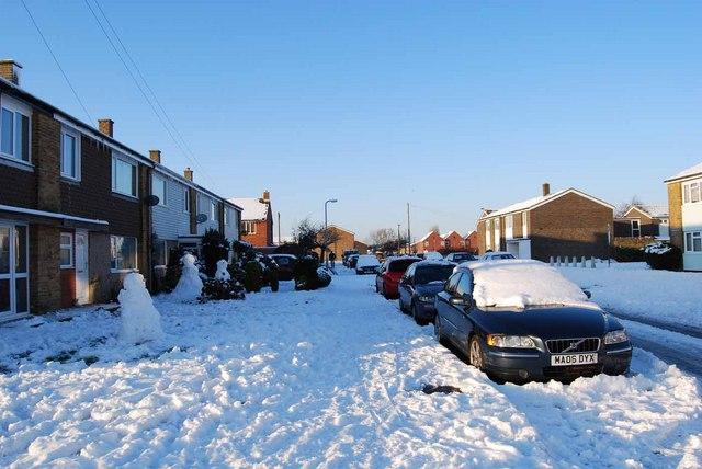 Bridgemary under snow - Horton Road (3)