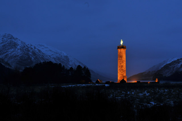 Glenfinnan Monument at dusk