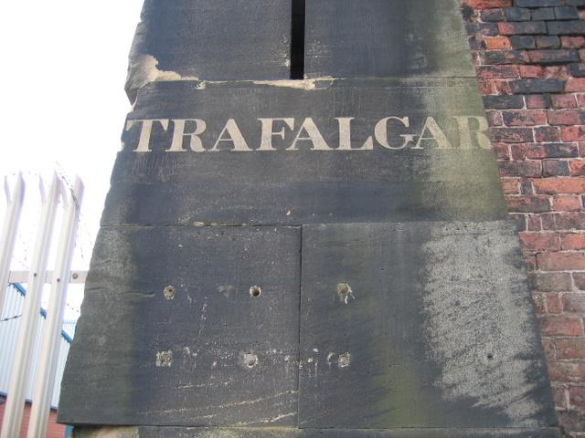 Inscription on the former Trafalgar Dock gatepost