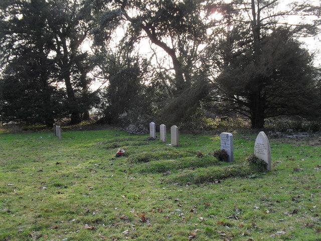 "Modern gravestones in the ""new churchyard"" at Treyford"