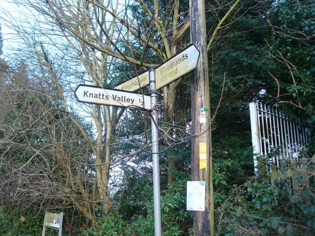 Road sign near West Kingsdown