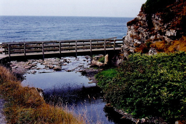 Glen Maye - Footbridge over river entering Irish Sea