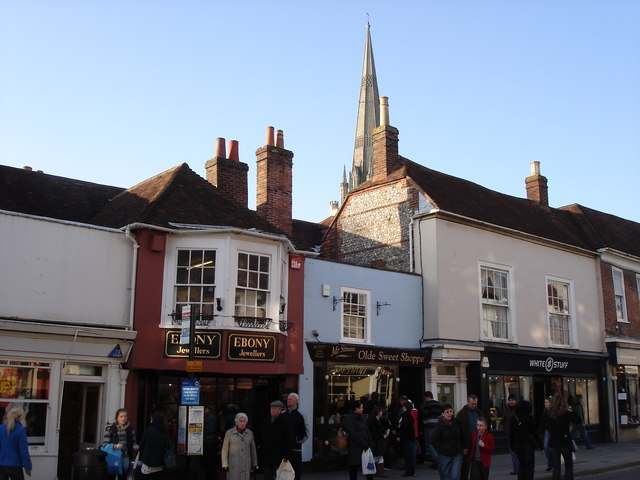 Chichester - west side of South Street with cathedral spire in the background