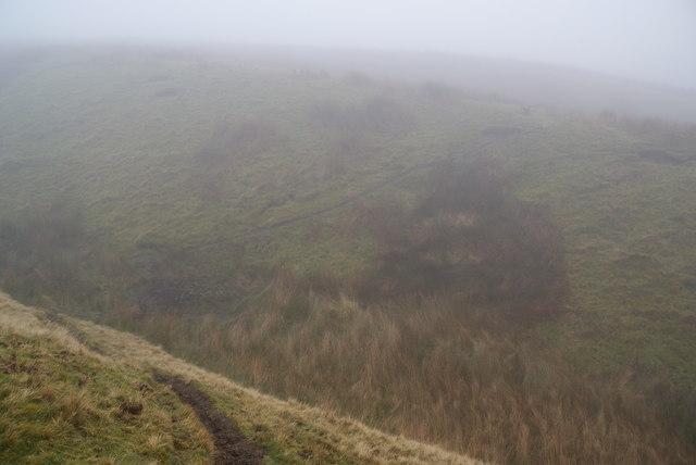 Burst Clough in mist